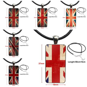 For Christmas Gift Retro Uk National Flag Necklace Fashion Long Chain With Rectangle Necklace Jewelry
