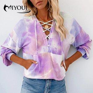 Miyouj Streetwear Hoodies Tie Dye Imprimir Moda feminina Roupa 2020 New Outono Mulher ocasional Moletons