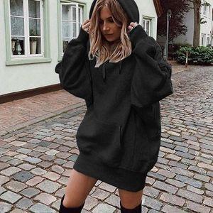 Women Hoodie Sweatshirts Dress Autumn Long Sleeve Casual Solid Loose Pullover Tops Pockets Winter Hooded Vestidos1