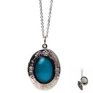 MJARTORIA ovale Médaillons Cadre photo Openable collier pendentif Keepsake bijoux température Changer la couleur Mood Collier Femme 2020