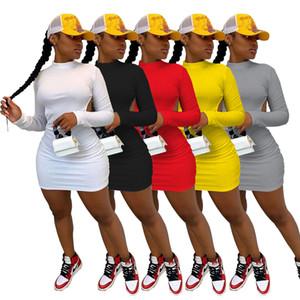 Diseñador de las mujeres vestido sin espalda alta elástico de manga larga delgado atractivo de las señoras del estilo del club nocturno Vestido con el cuerpo de la falda 877-1