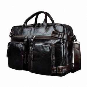 Genuine Leather Man Design Multifunction Purpose Maletas Maletin Business Briefcase 15 Laptop Bag Tote Portfolio Bag K1013 Metal Brief OCBw#