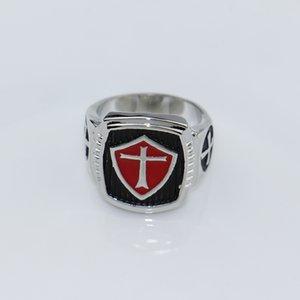 DCARZZ Rosso Nero smalto anello Gamer Templari fascia di cerimonia nuziale dell'anello della traversa dell'acciaio inossidabile anelli paio uomini gioielli regalo