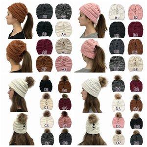 Pom Pom Cross Beanie 32 Styles Winter Warm Knitted Skull Ski Hats Women Cross Ponytail Beanies Cap CYZ2803-2