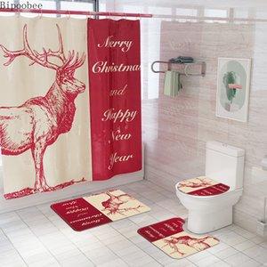Bipoobee Happy New Year ванной Шторы Набор Merry Christmas Bucks Pattern Душ занавес Домашний декор Коврик для ванной Туалет Ковер Наборы