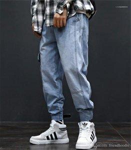 Taschen Hiphop los Light Blue Jeans Männer Art und Weise lange Mens Cargo-Hosen mit