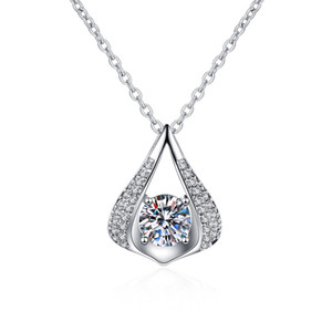 New Fashion White Gold Plated CZ Zircon Waterdrop Pendant Necklaces For Women Round CZ Crystal Wedding Necklace