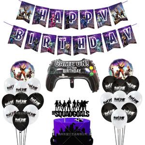 Fortnite Oyun Fortress Night Party bayraklarıyla mor doğum günü bayrak kolu alüminyum filmi balon pasta süsleyen.
