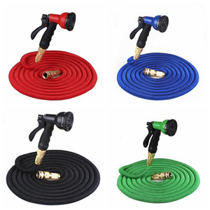 25FT Retractable Hose Natural Latex Expandable Garden Hose Garden Watering Washing Car Fast Connector Water Hose With Water Gun ju0099