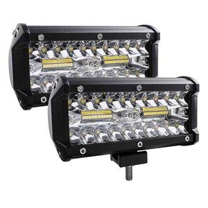 2PSC 7 인치 120W LED 라이트 바 방수 LED 포드 스포트 라이트 안개 운전 조명 램프 오프로드 트럭 자동차 SUV 보트 내구성