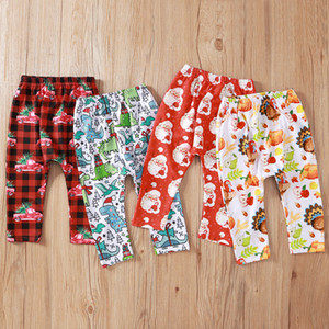 Cute Baby Boys and Girls 0-2T Dinosaur print long Pants Christmas clothes New Children fashion trousers