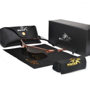 Sunglasses High Quality Ultra-light Aluminum Magnesium Polarized Men UV400 Rectangle Gold Outdoor Sun Glasses Goggles FML