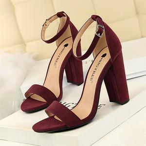 Bigtree Ayakkabı Kadınlar Sandalet 2020 Kadın Ayakkabı Blok Topuklar Kadınlar Süet Toka Parti Sandalias Seksi Klasik Sandalet Bayan Ayakkabıları Y200620
