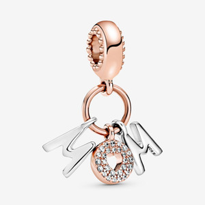 Encantos Novos Chegada 100% 925 Sterling Silver Mom Letras Dangle Charm Fit Original Europeia Charme Pulseira Moda Jóias Acessórios