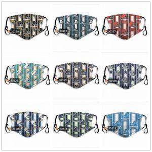 Nouveau masques designer équipe masque designer de football rugby commandes mixtes réutilisables réglable avec être lavés filtres carbone 2pcs Femmes Hommes Enfant