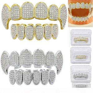 Gold Silver Color Hip Hop Micro Pave Cubic Zircon Teeth Grillz Caps Top &Bottom Men Women Vampire Fangs Grills Set