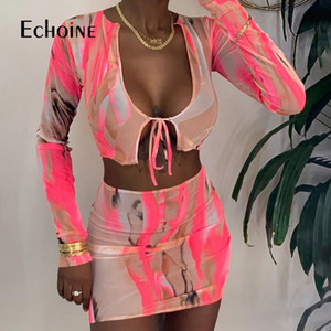 Women's Tracksuits Echoine Sexy Mesh Two Piece Set Outfits Full Sleeve Bandage Sling Crop Top Mini Dress Matching Fashion Night Party Clubwe
