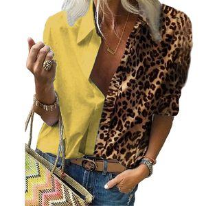 2020 European and American cross border women's long sleeve printed leopard print loose shirt chiffon shirt