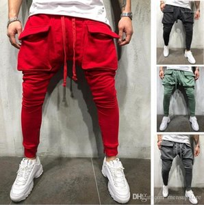 Autumn Solid Big Pockets Fitness Athletic Sweatpants Mens Casual Sports Joggers Pantalones Spring