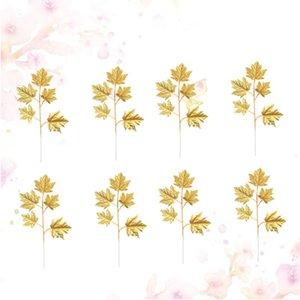 Hoja de la planta 10pcs Simulación de imitación de oro para la decoración del hogar (de oro)