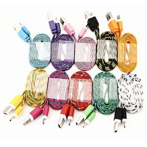 Kumaş Renkli USB Şarj Kablosu USB Kablosu Şarj Sync Veri Mikro USB 1M / 3 ft Güçlü Kablo İçin Cep telefonları Paketi olmadan