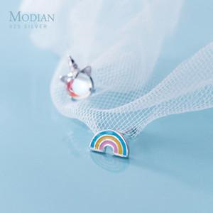 Modian Moda Gökkuşağı Licorne Bellek Küpe Charm Lucky Gerçek 925 Gümüş Opal saplama Küpe İçin Kadınlar Kızlar Takı
