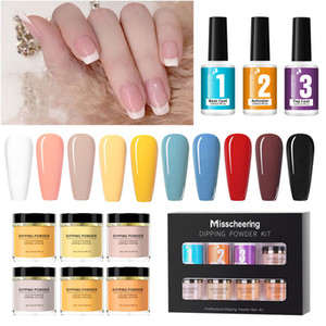 6 Colors Set Suit Package Dipping Powder Kit Nail Art Glitter No Baking Light French French Tip Pink And White