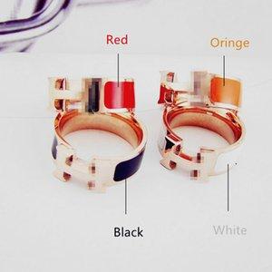 Top H Ring Rose Gold Silber Schraube Ringe Mehrfarben Paar Brief Ringe Männer Frauen H Ring Schmuck Love Ring mit Original-Samtbeutel