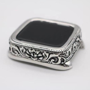 Stainless Steel Retro Embossed Watch Protector For Apple Watch Case 38 42 40 44MM High Quality Bumper Cover For iWatch 5 4 3 2 1