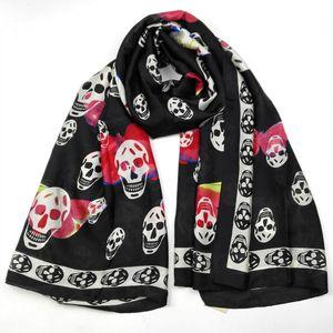 Luxo Silk Skull Scarf Mulheres Primavera Outono puro macio Foulard Silk Xales Lenços For Ladies Oversized 180 90 centímetros *