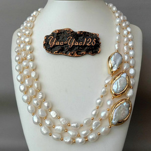 """20"""" 3 Strands Cultured Baroque Pearl Necklace Keshi Pearl Golden Plated Connector Y200918"""