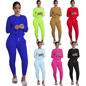 Vente en gros de 11 couleurs Femme Tracksuit Couleur Solide Costumes à manches longues avec panneaux de survêtement avec poche avec poche 2020 Vêtements dames D959