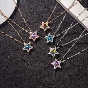 New popular Austria Crystal five pointed shining stars pendant 925 sterling silver necklace cute charms fine jewelry gril gift