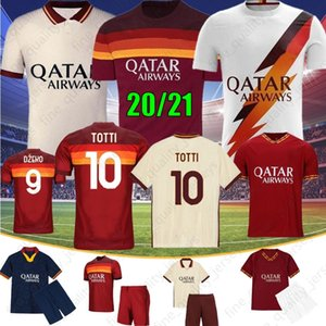 20 21 AS Roma Fußball-Trikots KOLAROV 2020 2021 TOTTI Maglia Da Calcio DZEKO Fußball-Hemd DE ROSSI Herren Kinder Kit Uniformen Gewohnheit