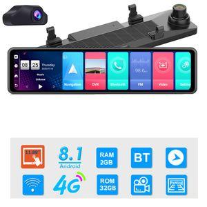 12-Zoll-Auto-DVR-Rückspiegel 4G Android 8.1 Dash Cam GPS Navigation Adas Full HD 1080P Car Video-Kamera-Recorder DVR