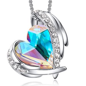 Fashion Statement Heart Necklaces for Women Born Stone Crystal Ladies Birthday Gifts Bridal Wedding Jewelry 2020 New Arrivals