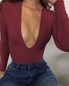 Skinny Body Moda Sólidos manga comprida V profundo Neck Designer macacãozinho Sexy Mulheres Spring Jumpsuit Plus Size Mulheres