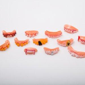 10шт Новый стиль Смешные Ужас Поддельный Зомби Vampire Протез Зубы Хэллоуин Декор Prop Trick игрушки Luminous Classics Протезы