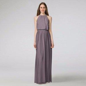 2019 NEU! Peyton Chiffon Abendkleid mit Perlen-Halter-Ausschnitt W2446MDB Hochzeit Kleid Abendkleid formalen Kleidern