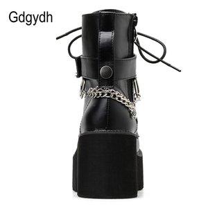 Gdgydh Nuova catena sexy donne rivestono di pelle autunno stivali tacco Scarpe gotica della piattaforma di stile punk nero femminile calzature di alta qualità 200921