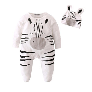 Baby Boys Girls Rompers Ropa Cotton Newborn Infant Cartoon zebra Jumpsuit With Cap Toddler Baby Clothes