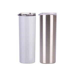 20oz Sublimation Skinny Tumblers blank white cup with lid straw Stainless steel drink cup vacuum insulated water coffee mug sea ship FFA4443