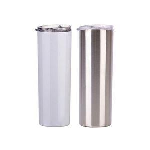 20 oz Sublimation maigre Gobelets tasse blanche de blanc avec couvercle paille acier inoxydable boisson tasse vide tasse à café d'eau isolé mer navire FFA4443