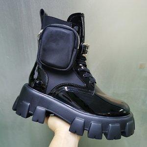 Frauen Rois Stiefel Nylon Derby Knöchel Martin Stiefel mit Beutel-Kampflackschuhe Combat Boots Black Rubber Sole-Plattform-Schuhe