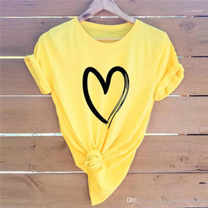 Imprimer manches courtes Tops été en vrac Mode T-shirt décontracté Femme T-shirts Marque d'amour de coeur femme T-shirt Designer