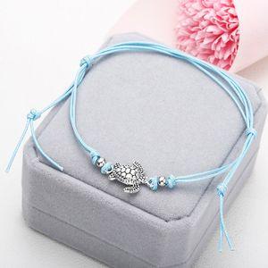 Boho Anklet for Women Fashion Black White Wax String Lacing Foot Jewelry Beads Bracelet Fashion Beach Jewelry