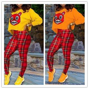 duas peças roupa Set Treino manga comprida em torno do pescoço Hoodie Top Leggings Red Plaid Pants de outono Mulheres trajes casuais Plus Size LY9122