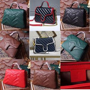 2020 classique Marmont ondulé grand sac à main messager d'épaule flip sac postier cuir noir pleine tVkl #