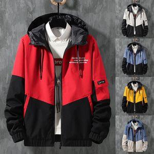Мужская с капюшоном ветровка куртка способа людей Color Matching Bomber Pilot куртки осень нового прибытия вскользь человек ветрозащитный пальто