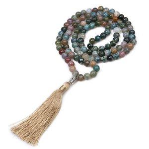8MM pierre naturelle vêtements avec des perles de méditation de yoga de prière de méditation collier pompon tête de Bouddha hommes pendentif et jetons femmes